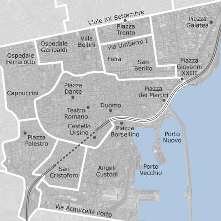Mappa di centro catania comuni con annunci di case in for Case arredate in affitto a catania