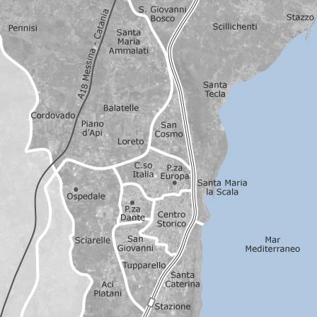 Mappa di acireale catania comuni con annunci di case in for Affitti catania privati non arredati